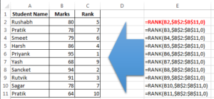 Formula to find Rank of each student
