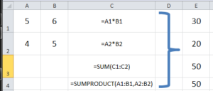 Formula to find sumproduct