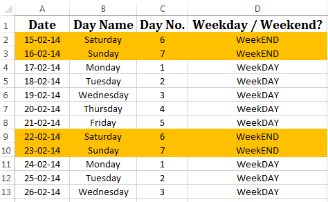 =WEEKDAY. Find the Day Number