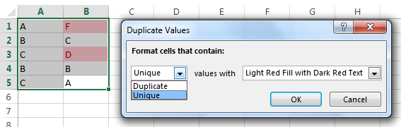 Highlight unique values using Conditional formatting