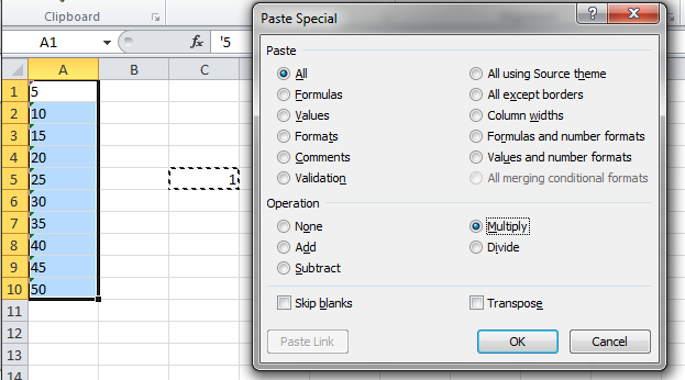 Convert textual numbers to actual numbers using Paste Special
