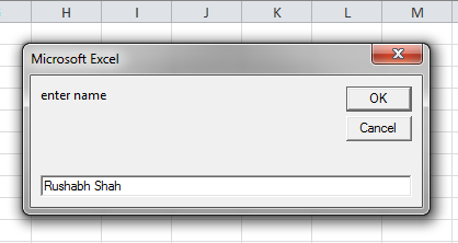 Enter Name in Input Box