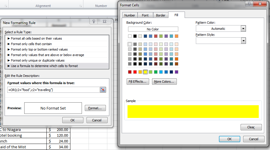 Select yellow color under Fill