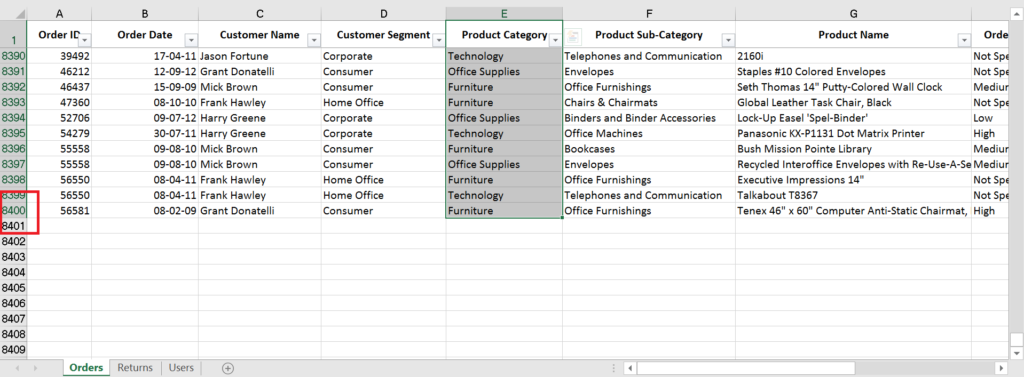 Excel shortcut to Select column with data