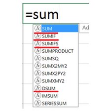 Difference between SUM, SUMIF, SUMIFS, DSUM